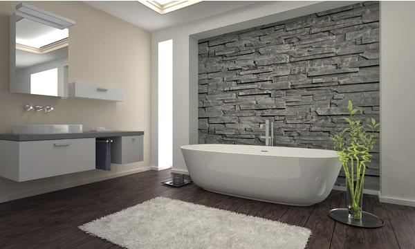 stylish grey bathroom with hardwood floors and white fixtures